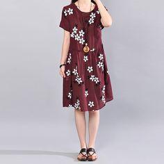 Summer Women Loose Casual Slim Printing Short Sleeve Purple And Red Dress