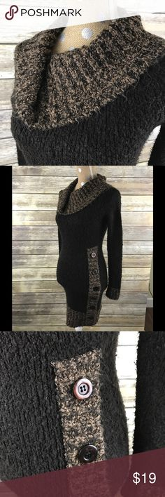 """Sweater Dress This dress is soft and has a lot of stretch with 7 big buttons running up the left side with a cowl neck.  In great condition.   📐Measurements & Information 📐  Chest Approx 28"""" Length Approx 34"""" 87% acrylic 13 Nylon Derek Heart Dresses"""