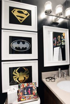 I created a superhero bathroom that will grow with my boys with black paint and fixtures from @lowes! #AD PaintWithLowes