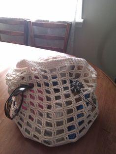 100% cotton hand crocheted beach bag