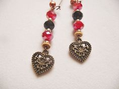 ANTIQUE HEART DANGLE EarringsRed Black by CedarCoveCreations