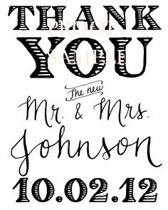 Thank You Gift Tags Wedding Favor Tags Shower Favor Vintage Wedding Custom Personalized Calligraphy Stamp. $40.00, via Etsy.
