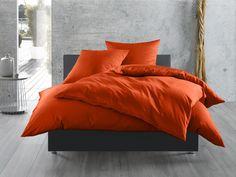 Mako-Satin Baumwollsatin Bettwäsche uni einfarbig zum Kombinieren (135 cm x 200 cm, Rot)