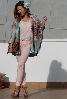 Kimono#outfit   , Zara in Jackets, Zara in T Shirts, Blanco in Jeans, Aldo in Heels / Wedges