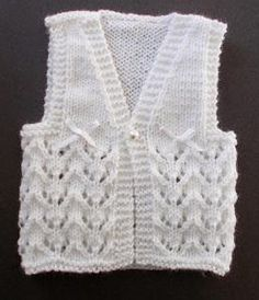 Lace Knit Baby Vest - Looking for ideas for baby shower gifts? This Lace Knit Baby Vest is an adorable and classic piece of clothing that every little baby must own. This baby sweater pattern is great for anyone who has ever wanted to learn how to make a vest without committing to an adult version.  The gorgeous lace knitting on the body of the vest gives it the darling detail that makes this vest as special as the one you create it for.