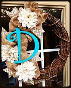 Grapevine Wreath with Burlap