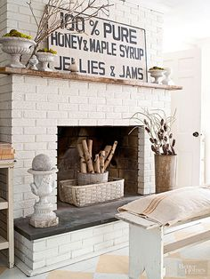Find cheap wall decor at any flea market or thrift store near you. Find out how to save, decorate and personalize (DIY-ify) your vintage finds here. Painted Brick Fireplaces, Paint Fireplace, Brick Fireplace Makeover, White Fireplace, Fireplace Hearth, Fireplace Surrounds, Fireplace Design, Fireplace Ideas, Decorative Fireplace