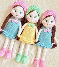 Mesmerizing Crochet an Amigurumi Rabbit Ideas. Lovely Crochet an Amigurumi Rabbit Ideas. Handmade Dolls Patterns, Crochet Amigurumi Free Patterns, Handmade Toys, Crochet Doll Dress, Knitted Dolls, Knitted Doll Patterns, Crochet Mignon, Cute Crochet, Beautiful Crochet