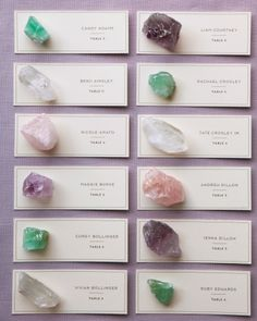 The gems on these escort cards can double as pretty favors