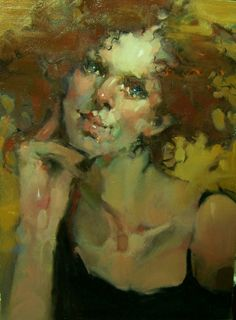 """The Conversation"" 5x7 Impressionistic Figures/Portraits/Redhead/Black Camisole.., painting by artist Kim Roberti"