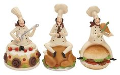 "Benzara Fat Chef - Polystone Chef 3 Assorted 8""H, 4""W"