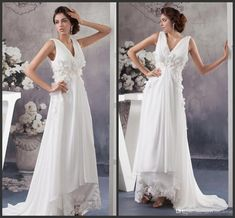 Cheap Wedding Gowns White Deep V Neck Hand Made Flowers Beading Sexy High Low Bridal Gowns Cheap Zipper Back Simple Design A Line Classic A Line Wedding Dresses Halter A Line Wedding Dress From Lovemydress, $125.63| Dhgate.Com