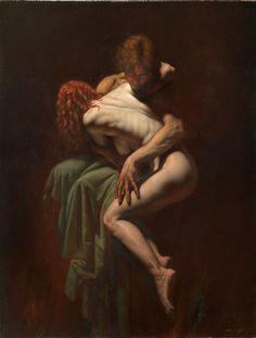 """""""Paolo e francesca"""" olio su tela 100x80  by Roberto Ferri"""