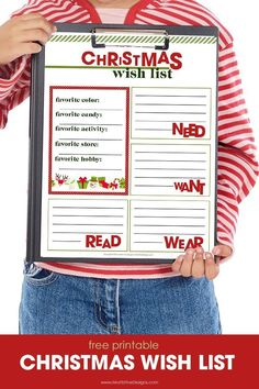 Kids & Adults can create their Christmas Wish List with this free printable. Gather all ideas on one list to share with friends and family.