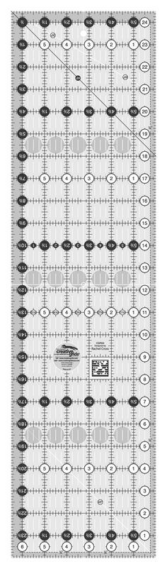 Creative Grids Quilting Ruler 6 1/2in x 24 1/2in By Cross, Rachel  - Easy-to-read black & white markings. 1in grid with 1/8in & 1/4in increments. Use numerical white dots & 1/4in grip sides to cut whole inches. Turn-a-Round to use the 1/2in grip side & numerical black dots to add the seam allowance. Gripper holds fabric while cutting. Exclusive line.  Minimum Adve