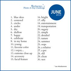 June Photo A Day Challenge 2015 - The Idea Room