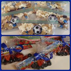 Soccer game snack ideas: Homemade snack mix made with pretzels, popcorn… Kids Soccer Snacks, Soccer Treats, Sports Snacks, Team Snacks, Game Day Snacks, Soccer Party, Kids Sports, Toddler Sports, Kid Snacks