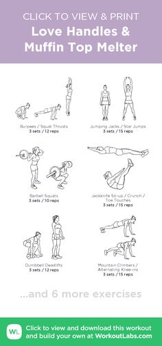Love Handles & Muffin Top Melter – click to view and print this illustrated exercise plan created with #WorkoutLabsFit