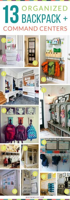 Organized Command Center and Backpack Nook Ideas. Mom hacks, tips and tricks for stress-free mornings with kids. Great ideas for Back-to-School!