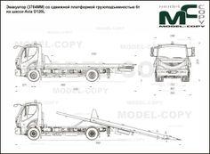 Wrecker with a sliding platform of load capacity on the Avia chassis - drawing (blueprints) - 40945 - Model COPY - Autocad, Adobe Illustrator, 3d Modeling Programs, 3d Modelle, Photoshop, Scale Models, 2d, Platform, Layout