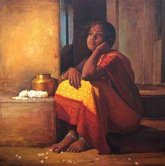 Paintings of rural indian women - Oil painting @S.Elayaraja