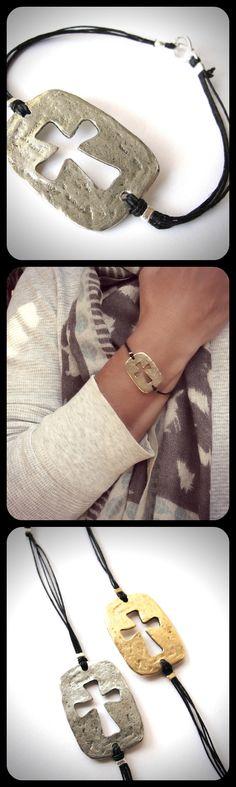 #Sideways cutout #cross #bracelets in pewter on black linen cord...from JewelryByMaeBee on #Etsy. www.jewelrybymaebee.etsy.com