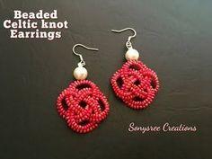 Beaded Celtic Knot Earring with Herringbone Stitch Seed Bead Jewelry, Seed Bead Earrings, Diy Earrings, Hoop Earrings, Bead Jewellery, Leaf Necklace, Jewellery Making, Flower Earrings, Seed Beads