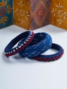 Blue Handcrafted Embroidered Cotton Bangles - Set of 3 Fabric Earrings, Fabric Jewelry, Diy Earrings, Beaded Jewelry, Silk Thread Bangles Design, Thread Jewellery, Terracotta Jewellery Designs, Bridal Bangles, Handmade Jewelry Designs