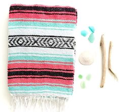 Mint and Coral Tribal Blanket | THE SIREN: SEA FOAM/TURQUOISE/MINT, PINK/MAGENTA, BLACK & WHITE MEXICAN BEACH BLANKET