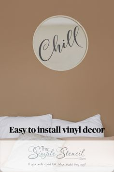 Chill Vinyl Decal Self Adhesive Removable Sticker Art. Relaxing home decor ideas for all your cozy spaces. Our vinyl wall decals are High Quality, Made in the USA, since 2002. Satisfaction Guaranteed. If your walls could talk, what would they say? Easy to apply, looks painted on, removable when you're ready for a change. #walldecor #roomdecor #homedecor #decals #wallart #wallstickers #vinyldecals #vinylwallart #chill #relax #beachhouse #beachdecor #loungedecor #spadecor #bathroomdecor #chillax Vinyl Decor, Vinyl Wall Decals, Wall Stickers, Bathroom Wall Decor, Room Decor, Beach Wall Decals, Lounge Decor, Beach House Decor, Easy Install