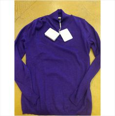 Cruciani 2-3 ply pleated right shoulder cashmere purple mock neck 46