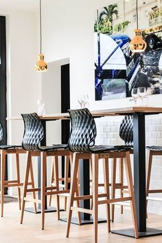 Uni bar stools in black. Polypropylene textured shells on solid wood base. Wood Bar Stools, Counter Stools, Seat Available, Commercial Interiors, Sofa Chair, Interior Accessories, Foot Rest, Cozy House, Solid Wood