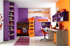 chambre ado fille violet et orange