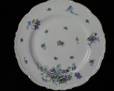 "Dinner plates in violets and blue forget me not flowers made by Halsy.  ""Spring Garden"""