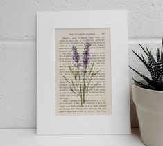 Botanical Image Print, Antique Book Page Print, Garden Room Decor, New Home Gift Garden Lover Gift, Literary Print, Lavender Botanical Image by TicketyBooPrints on Etsy
