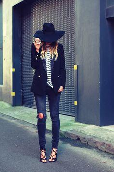 #chic #hat #skinnies #heels
