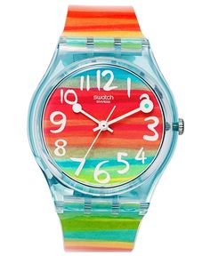 Swatch Watch, Unisex Swiss Color the Sky Rainbow Plastic Strap 34mm GS124 - Watches - Jewelry & Watches - Macy's
