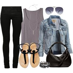 Jean jacket, grey tank top, black skinny jeans, black sandals, black bag & aviator glasses.
