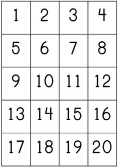 Number Counting Chart 1-20 Pritnable | count 1 20 write their first name using correct use