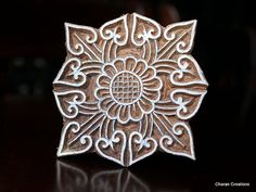Hand Carved Indian Wood Textile Stamp Block Art by charancreations