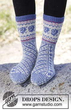 "Winter Heirloom - Vinoraitakuvioiset DROPS sukat ""Fabel""-langasta. Koot 35-43. - Free pattern by DROPS Design"