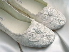 Rachel Wedding Shoes Bridal Ballet Flat Vintage Lace By Pink2Blue, $175.00 - Click for More...