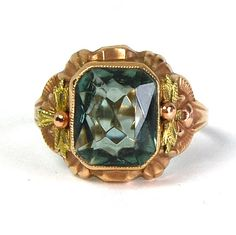 Antique Art Deco Blue Stone Ring 10 Karat Rose and Yellow Gold Two Toned Leaf Details Size 5.5 Circa 1920