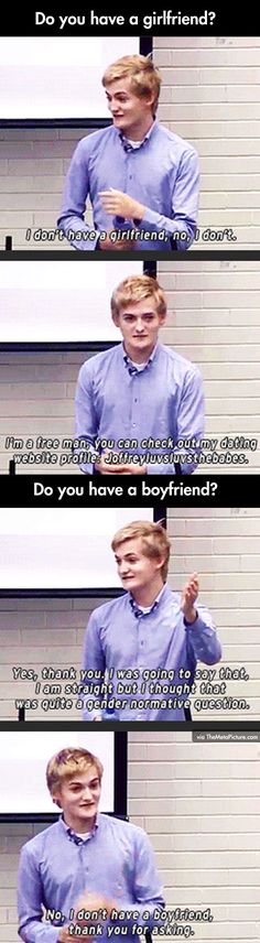 Completely the opposite of his character...I am always stunned by Jack Gleeson out of character!