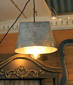New Accessories at the Cottage...galvanized metal bucket pendent light with Edison bulb