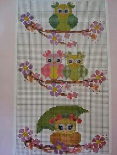 Cross Stitch Baby Blanket, Cross Stitch Owl, Cross Stitch Cards, Cross Stitch Alphabet, Cross Stitch Animals, Cross Stitch Designs, Cross Stitching, Cross Stitch Patterns, Brick Stitch