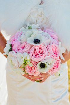 Pink Rose, White Poppy Bouquet
