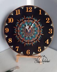 """""""No winter lasts forever, no spring skips its turn"""" .B Commissioned, original. """"No winter lasts forever, no spring skips its turn"""" .B Commissioned, original hand painted wall clock. Wall Clock Painting, Clock Art, Dot Art Painting, Diy Clock, Mandala Painting, Clocks, Record Crafts, Cd Crafts, Vinyl Record Art"""