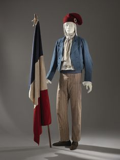 Carmagnole Jacket, France, c. 1790, Los Angeles County Museum of Art, purchased with funds provided by Suzanne A. Saperstein and Michael and Ellen Michelson, with additional funding from the Costume Council, the Edgerton Foundation, Gail and Gerald Oppenheimer, Maureen H. Shapiro, Grace Tsao, and Lenore and Richard Wayne; Sans-culotte Trousers, France, c. 1790, Los Angeles County Museum of Art, purchased with funds provided by Phillip Lim