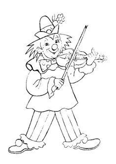 Coloriage d'un clown qui joue au violon.